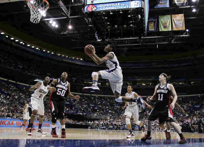 Connecticut's championship victory last night was the capstone to one of the most impressive seasons in women's basketball history. Here, Tiffany Hayes flies toward the basket in the first half.