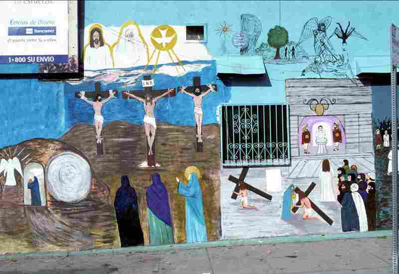 Stations of the Cross by Manuel G. Cruz on the wall of El Toro market, East Los Angeles, 2001.  This mural was erased when the store owner converted to Protestantism.