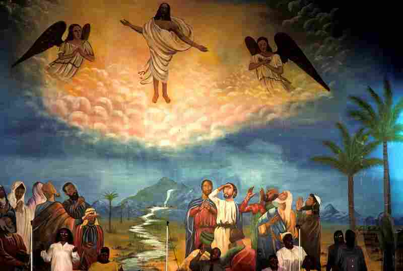 This painting at True Gospel Tabernacle Church depicts the day of Pentecost, Bronx, N.Y., 2001