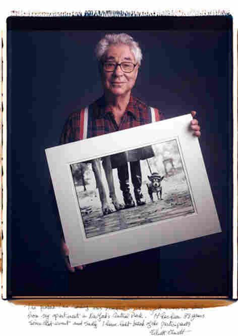 """Elliott Erwitt is known for his subtle sense of humor.  """"The picture I am holding,"""" says Erwitt's inscription, """"was snapped in 1974 just across the street from my apartment in New York's Central Park. It has been 38 years since that event and sadly I have lost track of the participants."""""""
