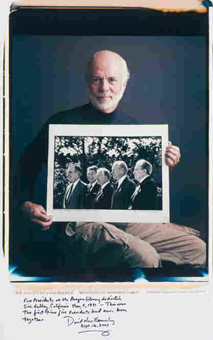 "David Hume Kennerly won the Pulitzer Prize for Feature Photography in 1972 for his images of the Vietnam War. He holds his 1991 image of (from left) George H.W. Bush, Ronald Reagan, Jimmy Carter, Gerald Ford and Richard Nixon in Simi Valley, Calif. ""This was the first time five presidents had ever been together,"" writes Kennerly."