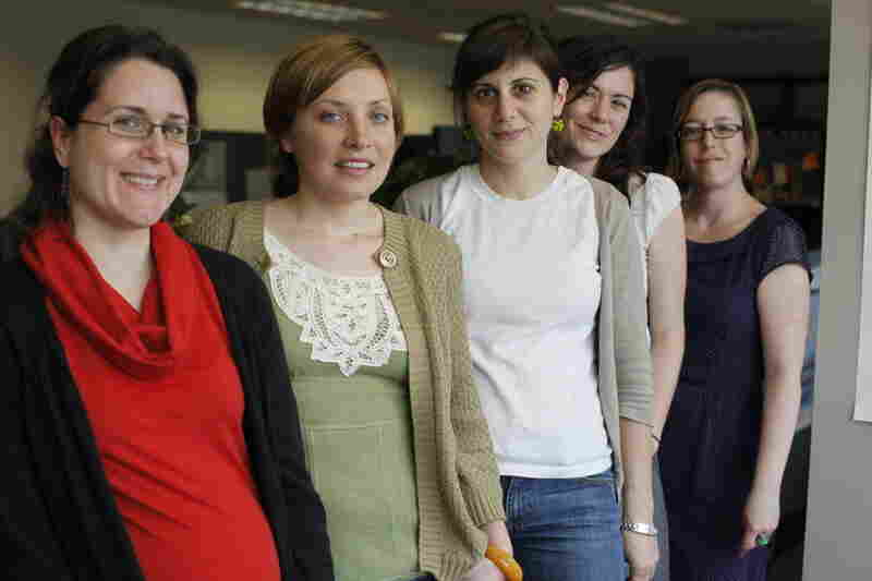 Amy surrounded by her minions: Hannah Sommers, Jo Ella Straley, Amy DeCicco, Anne Ledford, Maureen Clements