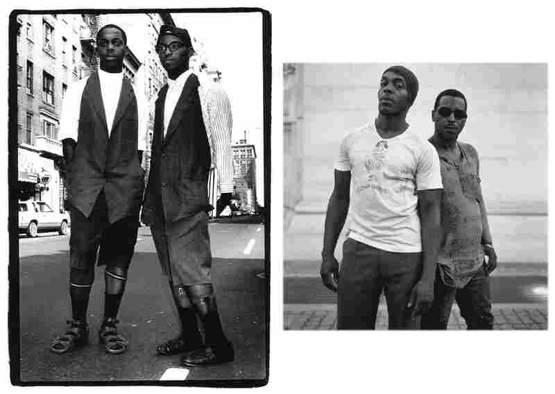 Suspenders and socks, Andre Walker and Pierre Francillon, 8th and MacDougal Streets, 1983 (left).  Andre Walker and Pierre Francillon, 2006.  Walker is a fashion designer and stylist, and Francillon is a photographer and painter.