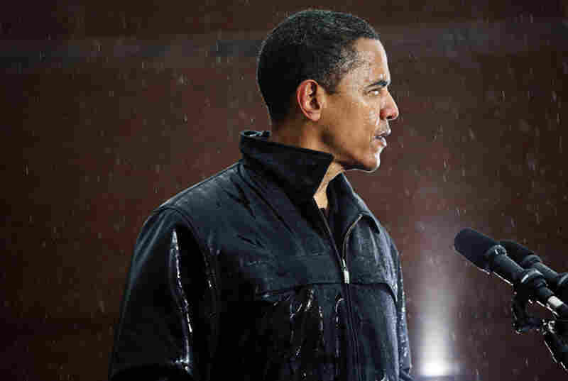 Sen. Barack Obama, drenched, during a rally at Widener University in Chester, Pa.
