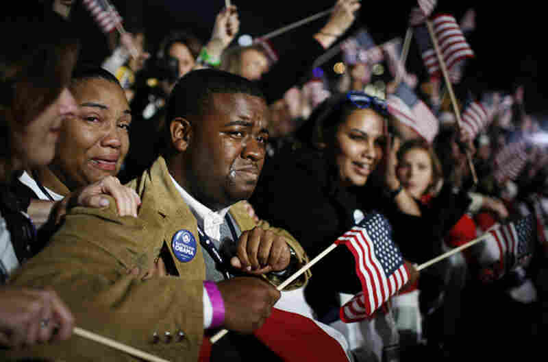 Supporters in Chicago's Grant Park cried and cheered on election night as it became certain that Barack Obama would be the next president.