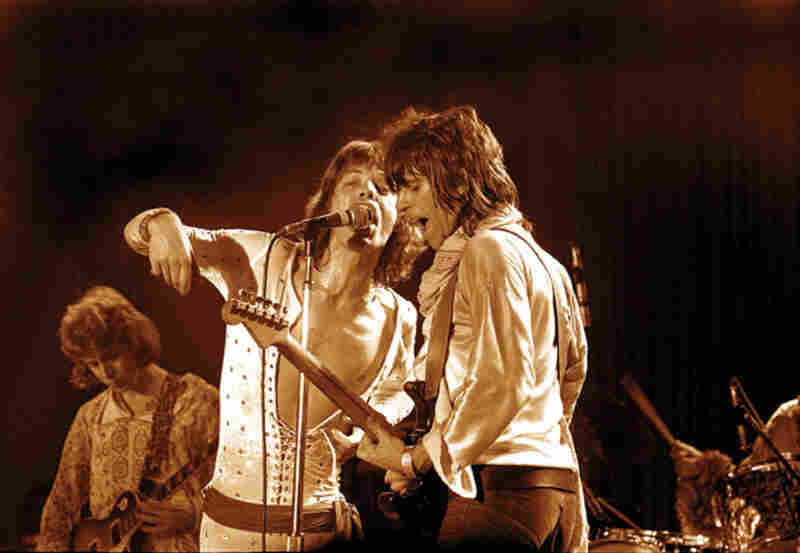 Mick Taylor, Mick Jagger and Keith Richards, Los Angeles, 1973.