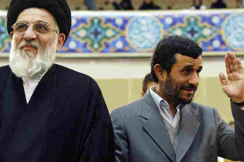 April 19: President Mahmoud Ahmadinejad, pictured here in 2007 with Iran's judiciary leader, Ayatollah Hashemi Shahroudi, orders a review of the case.  On April 20, Shahroudi demands a quick and fair appeals process.