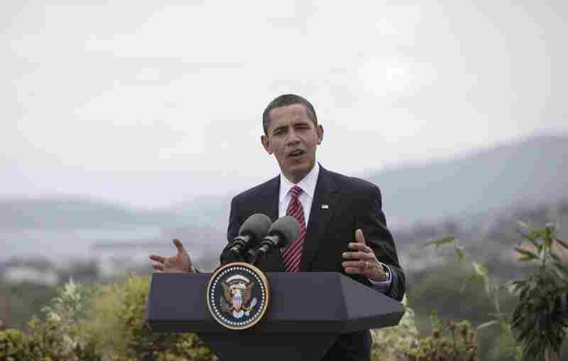 """April 18: President Obama issues a statement saying he is """"deeply disappointed"""" by the results of the trial.  The following day, he reiterates that point at a news conference at the 5th Summit of the Americas in Trinidad, saying he's """"gravely concerned"""" about Saberi's well-being."""