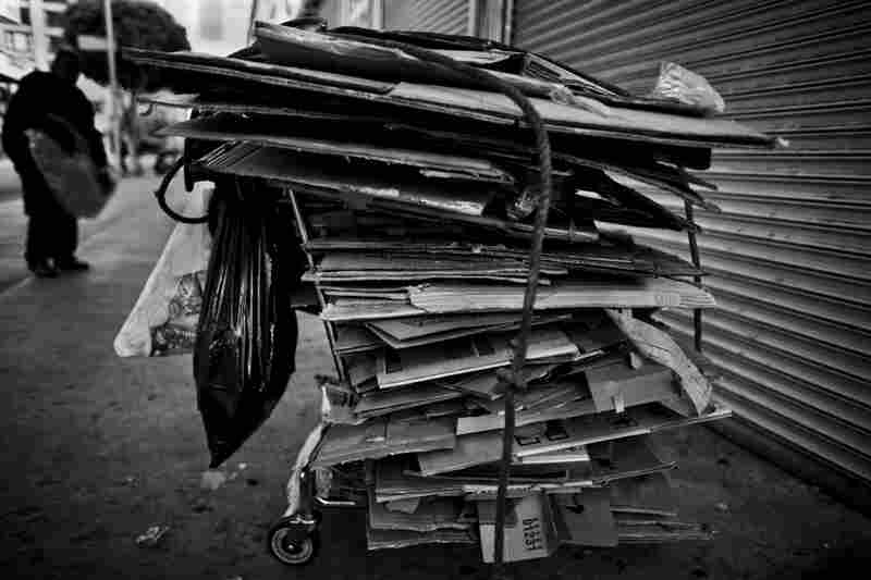 Piles of cardboard are a common sight on Skid Row.