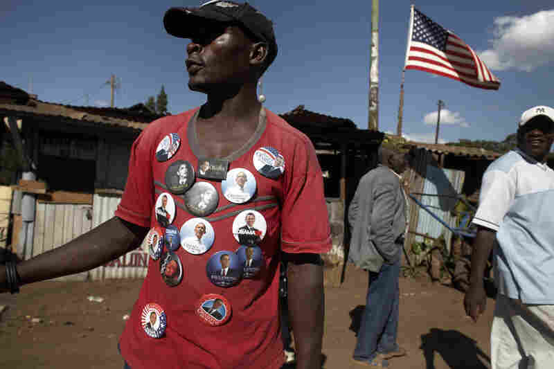 A man sells Obama buttons in Nairobi, Kenya. Obama represents an enormous source of pride for all Kenyans.
