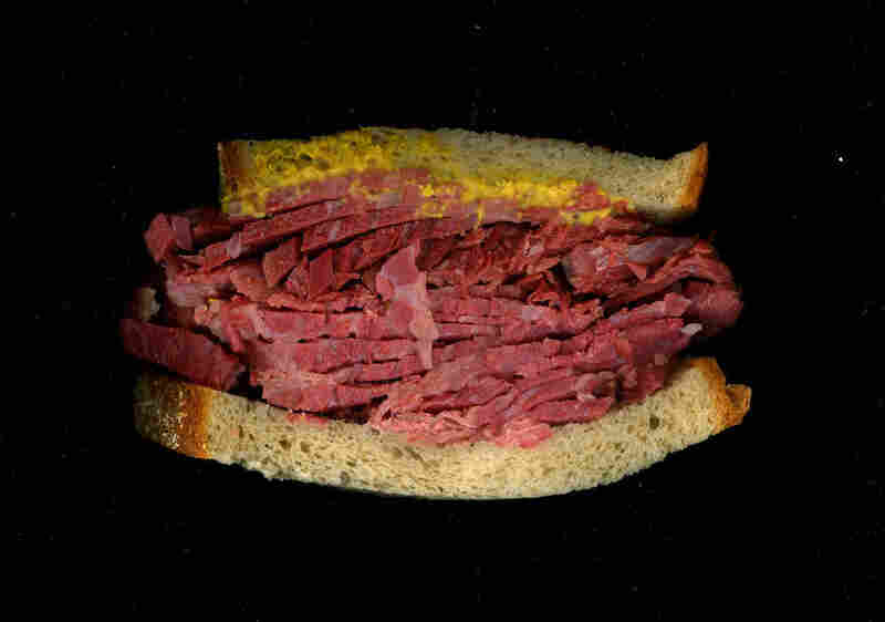 Corned beef, mustard on rye, from Katz Deli