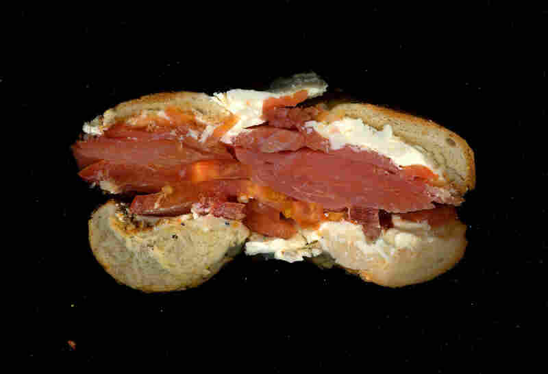 Lox, cream cheese, tomato on an everything bagel, from Katz Deli