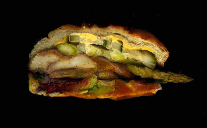 Veggie Special: Portobello, cucumber, asparagus, BBQ sauce, American cheese, from Mooncake Foods