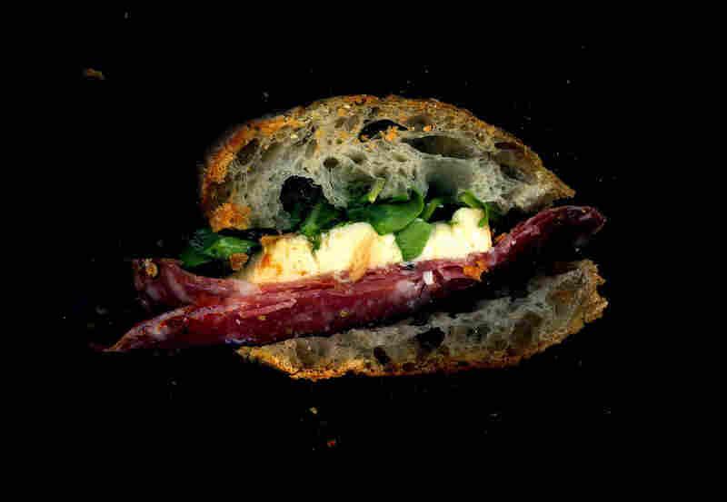 Salami, fresh mozzarella, arugula on a baguette, from Alidoro