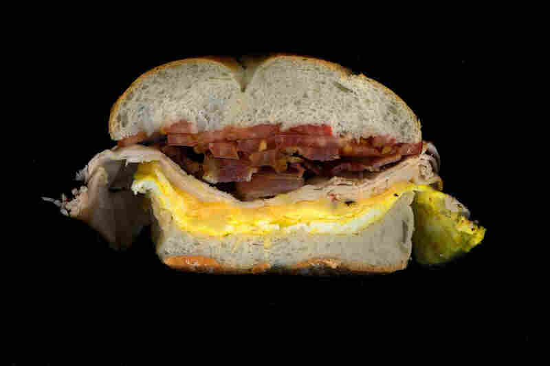 Bacon, turkey, egg, American cheese, tomato on a roll, from D&D Deli