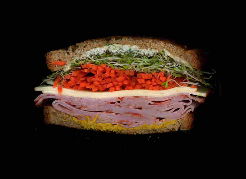 Cappy ham, muenster, sprouts, carrots, mustard and mayo on wheat toast, from D&D Deli