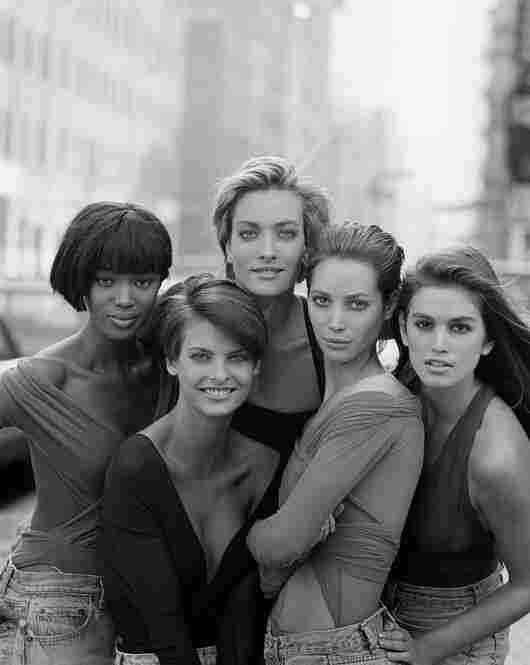 Naomi Campbell (from left), Linda Evangelista, Tatjana Patitz, Christy Turlington and Cindy Crawford in tops by Giorgio di Sant' Angelo, British Vogue, 1990