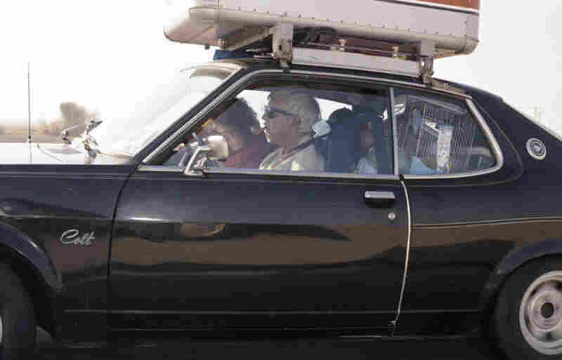 Man driving (with woman reading and parakeet clinging) southbound at 72 mph on Interstate 5 near Wheeler Ridge Road outside Bakersfield, Calif., at 3:37 p.m. on a weekday in July 1992