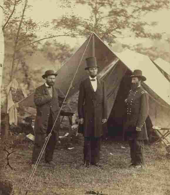 President Lincoln stands at the United States Headquarters of the Army of the Potomac, near Antietam, in 1862.