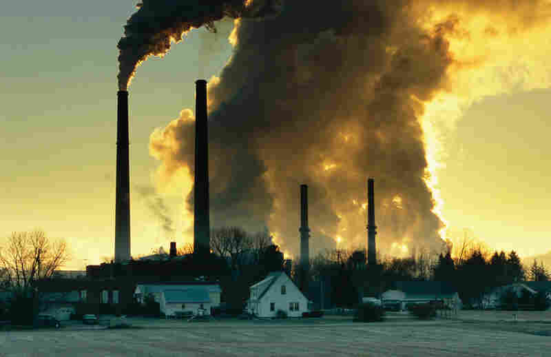 Smoke billows from a coal-burning plant in Conesville, Ohio. The stack with the white smoke (second from left) is using lime to reduce sulfur emissions and thereby reduce downwind air pollution and acid rain.