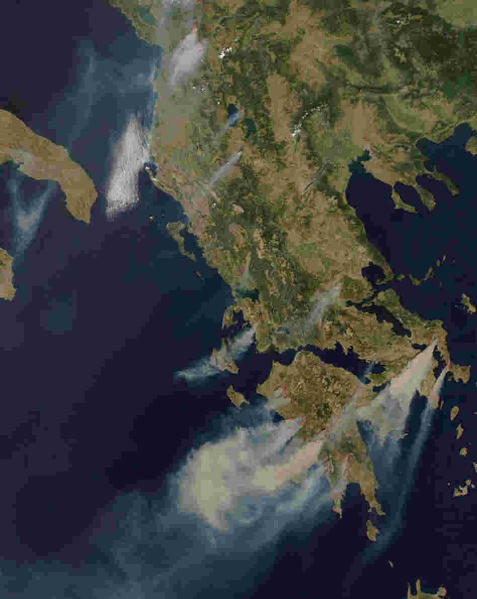 A second wave of fires in Greece occurred that August, as seen in the satellite image. A combination of scant precipitation and multiple heat waves left Greece particularly vulnerable. By the end of the summer, the tally was 120 major fires and 469,000 acres of forestland burned.