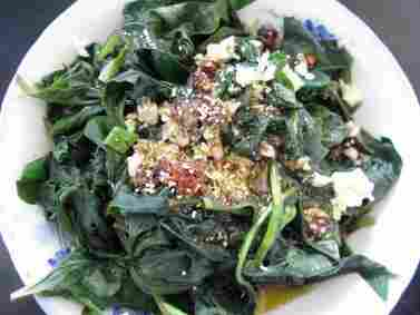 Cold mountain greens with garlic and spices.