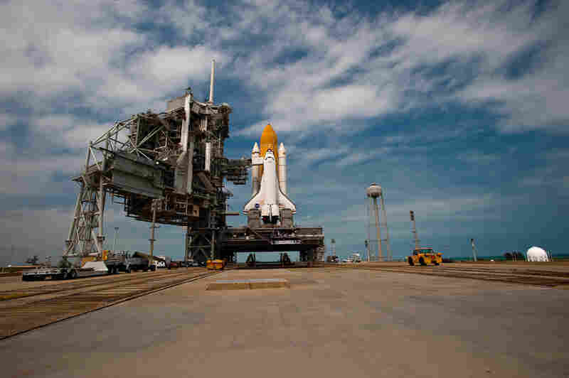 Atlantis rests on Pad A at the Kennedy Space Center in Florida, ready for launch.