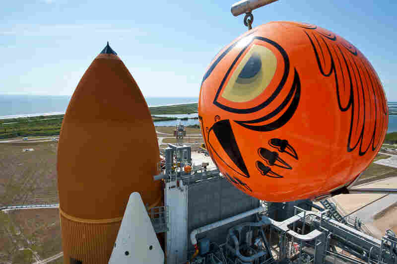 The shuttle launch pads are located in a national wildlife refuge, which requires creative means to keep birds from nesting in — and picking at — the shuttle. This is one of several balloons with eyes that shift with the direction of the wind, so as to divert birds.