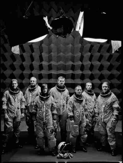 Members of the last shuttle crew to service the Hubble Space Telescope: (From left) Michael Good, Mike Massimino, Megan McArthur, Scott Altman (commander), Greg Johnson, Andrew Feustel and John Grunsfeld.
