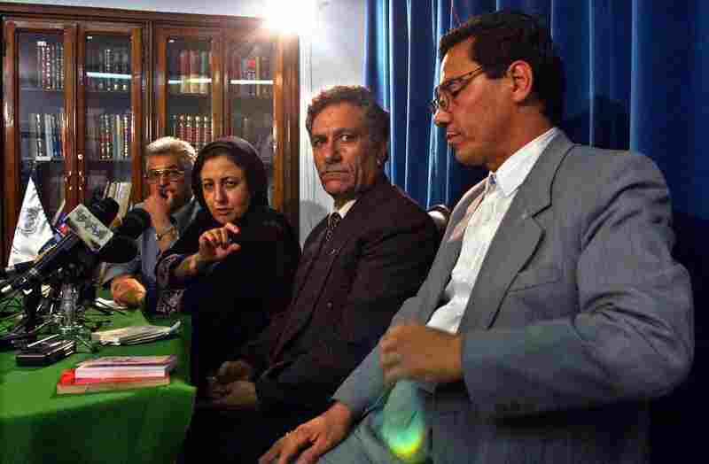 Abdolfatah Soltani, far right, is an Iranian human rights lawyer.  Here, he's pictured at a 2004 press conference with the legal team that represented Zarah Kazemi, a Canadian-Iranian who was murdered while being detained in Evin prison.