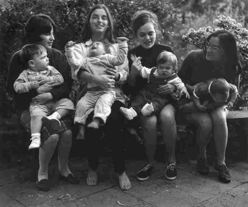 Four old friends with babies, Los Angeles, 1967. This image of mothers and fussy babies challenges the dominant image of motherhood at the time. One theme that Leonard routinely explores is the space between ideals and reality.