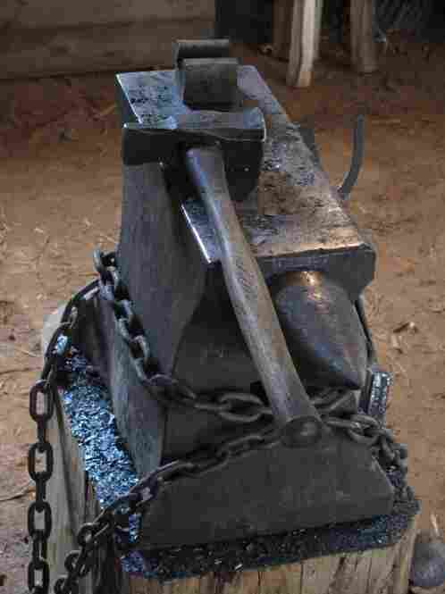 A blacksmith's hammer and anvil at Mt. Vernon Estate and Gardens.
