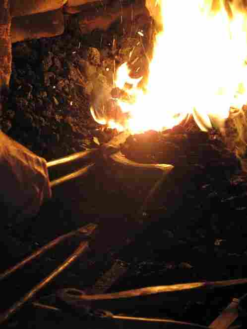 Zieg heats the steel until it becomes malleable.