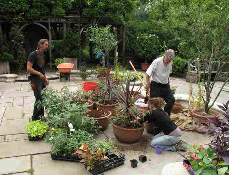 Gardeners fill large pots with begonias, fuschia, and other flowers.
