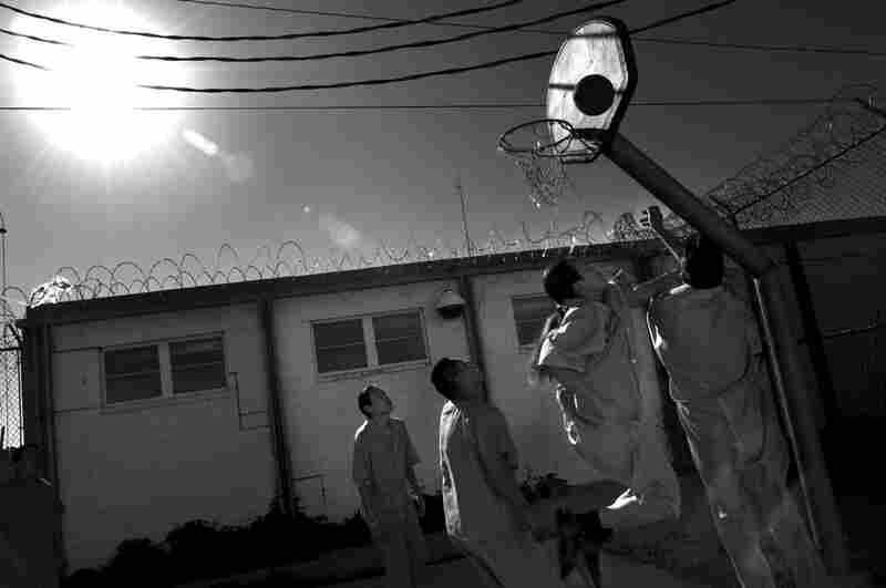 At the Window Rock Jail, members of the Cobra gang, the largest and most violent gang on the Navajo reservation, play basketball. The gang has been causing disturbances in the Navajo Nation because of a crisis in law enforcement.