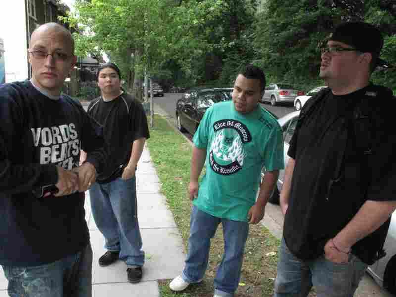 The Words, Beats & Life crew Corey Stowers, Matas Yongvongpaibul, Joshua Vazquez , and Alex Garcia say they only knew DJ Menace by reputation.