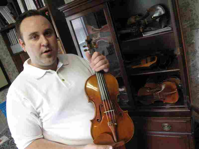 Potter's case of high-end violins includes French instruments by Chanot and Bailly.