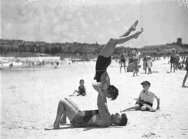 Beach acrobatics at Bondi Beach, 1935