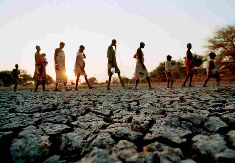 People leave their drought-stricken village in search of water and food, Sudan, 1999.