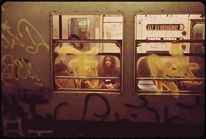 This Broadway Local subway car, like many others during the seventies, was covered with graffiti. As a testament to its growing popularity, arrests for graffiti climbed from nearly 1,400 in 1973 to more than 2,000 in 1974.