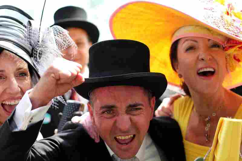 Owners of the Australian-trained horse Scenic Blast celebrate victory in The King's Stand Stakes Race at Ascot Racecourse.