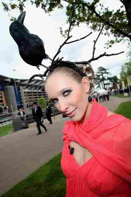 "Kateryna Osadcha attends Royal Ascot on ""Ladies Day"" accompanied by a blackbird."