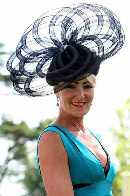 Hilary Pritchard from York shows off her fashion choice during Day 1 at Ascot Racecourse.
