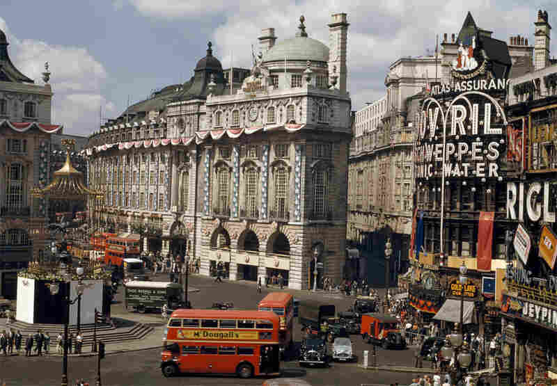 "Seen here in 1953, Piccadilly Circus is one of London's busiest intersections. These photos and others will be on display at the National Geographic Museum in Washington, D.C., from June 25 to September 7, as part of an exhibit on ""Kodachrome Culture."""