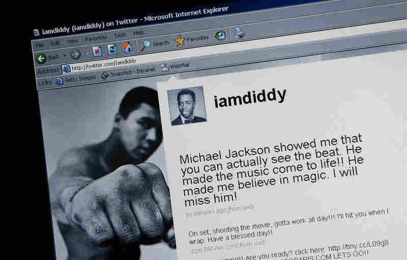A message from P. Diddy is displayed on Twitter in response to the news that Michael Jackson has died.