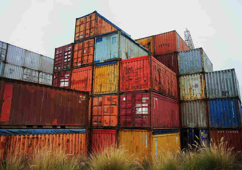 Shipping containers by the Port of Long Beach in California.