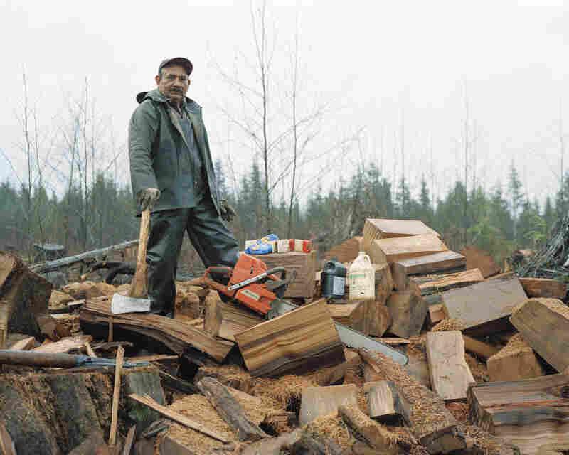 Juan Abalos, salvaging cedar shingle bolts, lower Hoh River, Washington