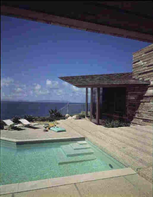 Swimming pool at the Judge Anderson residence, designed by architect Aaron Green, protege of Frank Lloyd Wright, Palos Verdes Estates, Calif., circa 1963