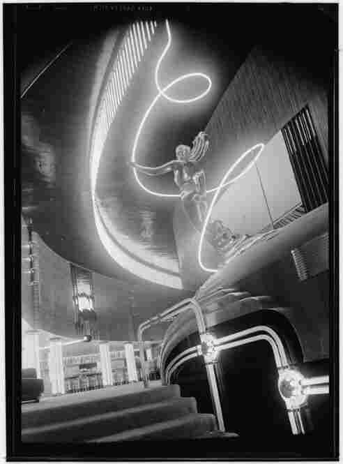 The lobby of the Earl Carroll Theatre as it appeared in August 1939 during its first year of operation.  Located on Los Angeles' Hollywood Boulevard, the landmark is now a studio for the Nickelodeon television network.
