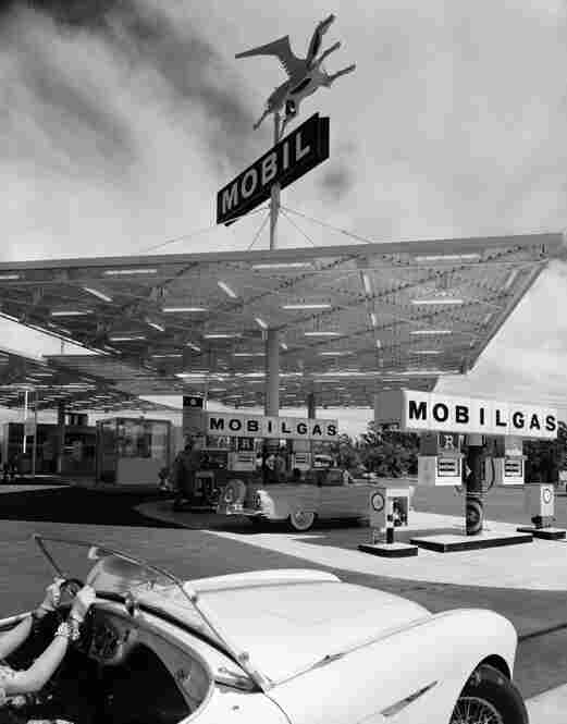 Mobile Gas Station, Anaheim, Calif., 1956.